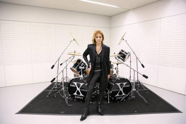 チャリティX JAPAN YOSHIKI愛用ドラムセット/直筆サイン入り